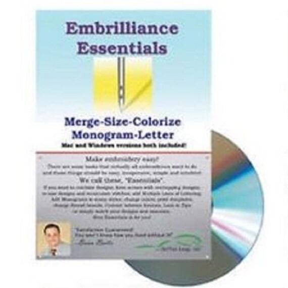 Embrillance Essentials Machine Embroidery Software Winmac Etsy
