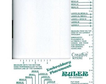 Embroidery Placement Ruler- Eliminate Guess Work-Adult Size