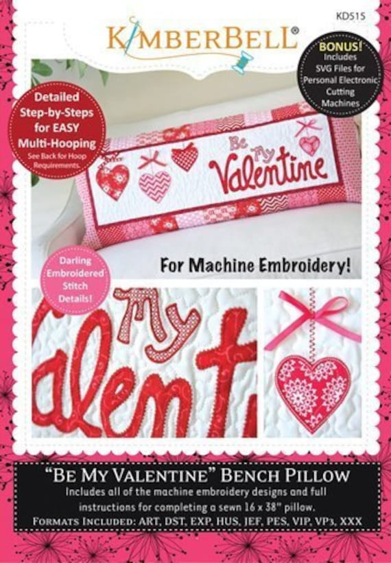Kimberbell  KD166 Be my Valentine Bench Pillow