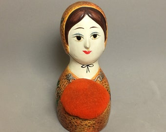 60s Gemma Taccogna Mexico Style Lady Head Pin Cushion and Bank Folk Art, Japan
