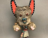 Unique 14 quot Native American Indian Handmade Kachina Dancer with Removable Wolf Mask