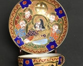 Moriage Satsuma Embossed Heavy Gold Eggshell Porcelain Teacup Set with God and Immortals Design