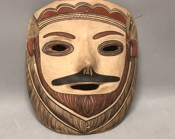 2b2ea786949 Acoma Indigenous Artisan Clay Mask Man with Mustache and Beard Terracotta  Mexican