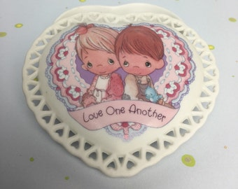 "Precious Moments Ceramic Heart Shaped Trinket Jewelry Box ""Love One Another"" by Enesco Collection - 1992"