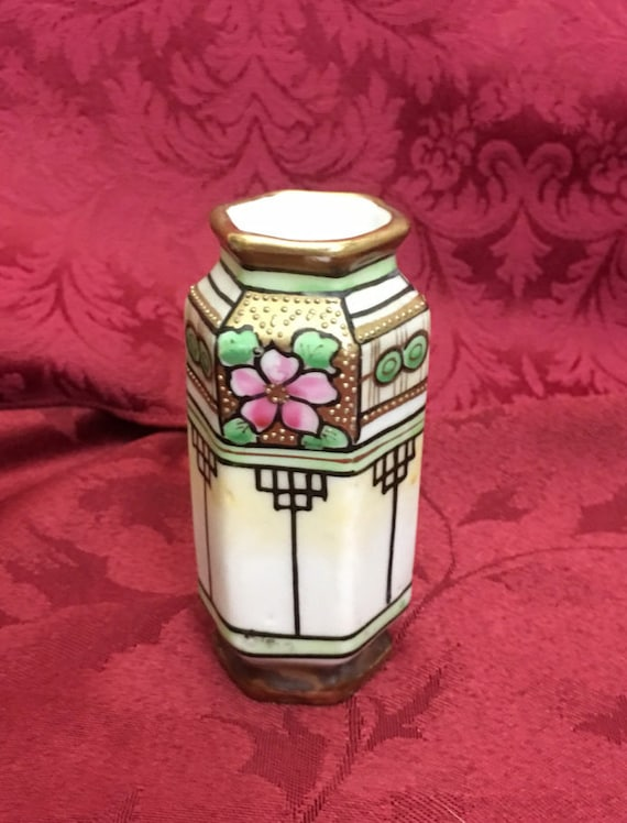 Free Shipping Small Antique Art Deco Vase Hexagonal Nippon Etsy