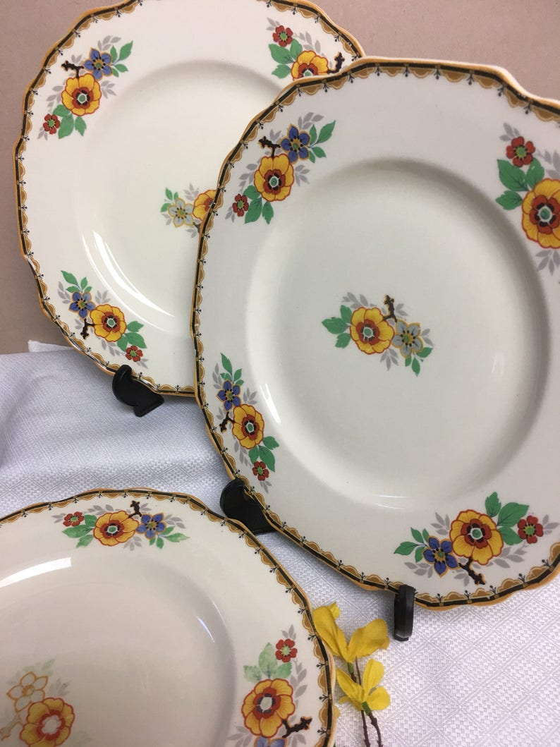 Set of 3 Myott England Sons and Co Dinner Plates