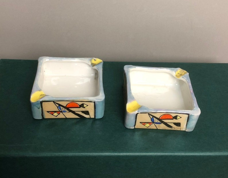 Pair of Lusterware Square Ashtray made in Japan Abstract Modern Design FREE SHIPPING