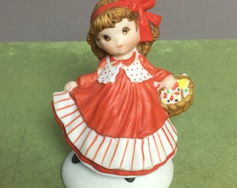 """Hallmark Bisque  Porcelain Figurine - Mary Collection """"Be the Very Merriest """" - 1983"""