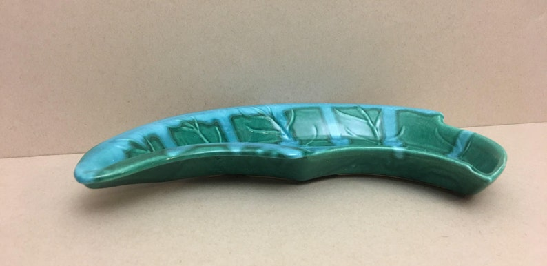Mid-Century Leaf Shaped Turquoise Ashtray Candy Tray TR-666 USA Designed by Nonamax California