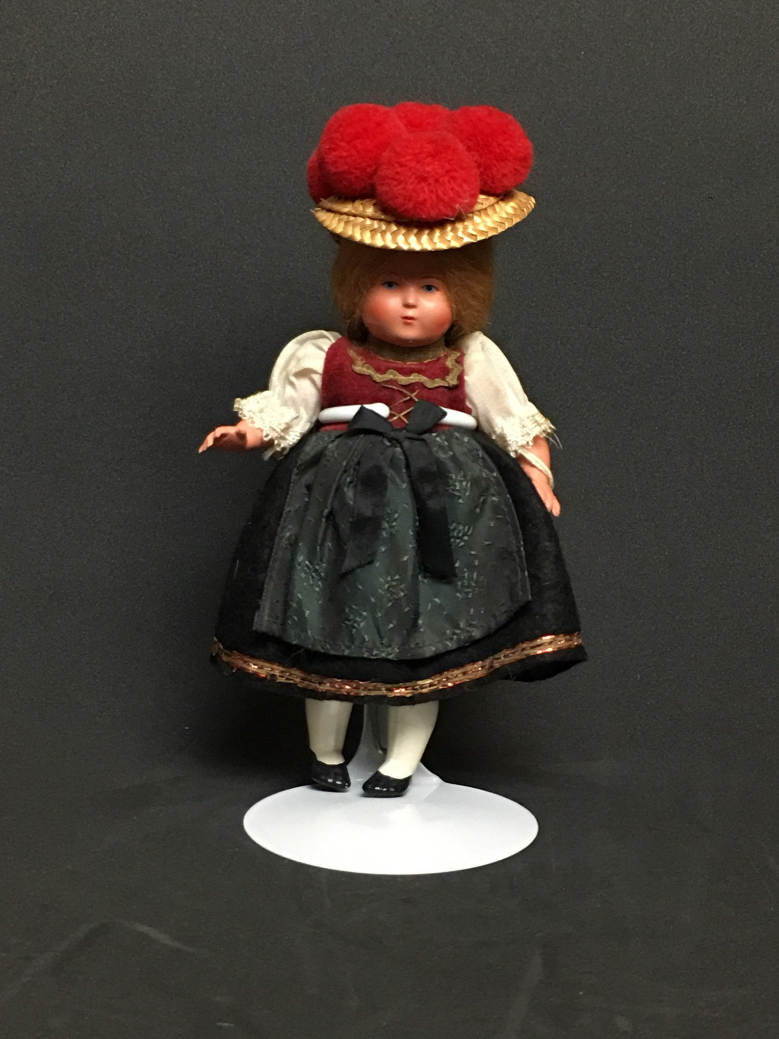 Vintage German Celluloid Black Forest Doll - Rheinische Gummi Turtle Mark - with Stand