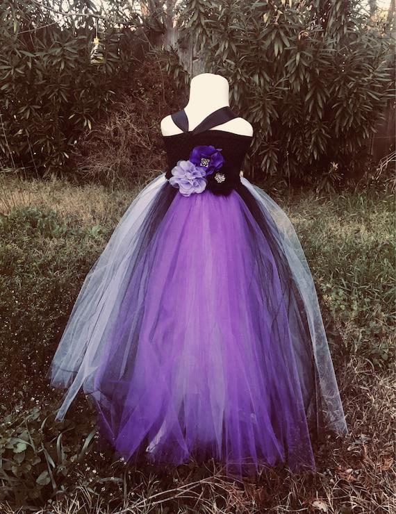 Purple And Black Tulle Dress Flower Girl Dress Up Princess Etsy
