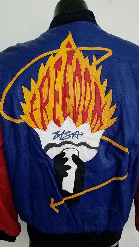 "Vintage Michael Hoban ""Freedom"" Torch Leather Jac… - image 2"
