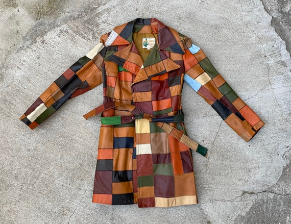 Vintage 70's Patchwork Leather Coat sz. 7