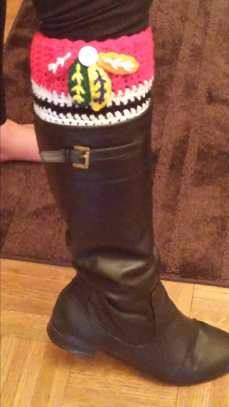 Chicago Blackhawks boot cuffs.