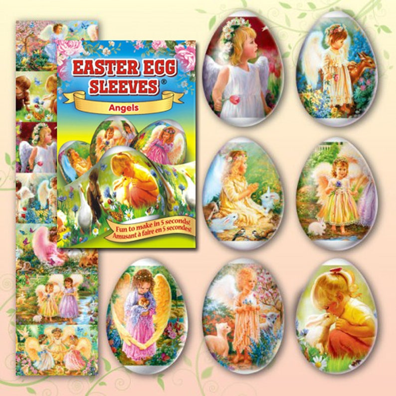 Angels Green 29 Easter Egg Sleeves Pysanka Shrink Wraps image 0