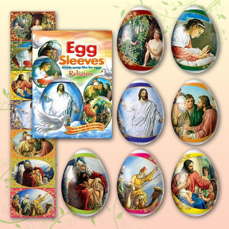 Religion 22 Easter Egg Sleeves Pysanka Shrink Egg Wraps image 0