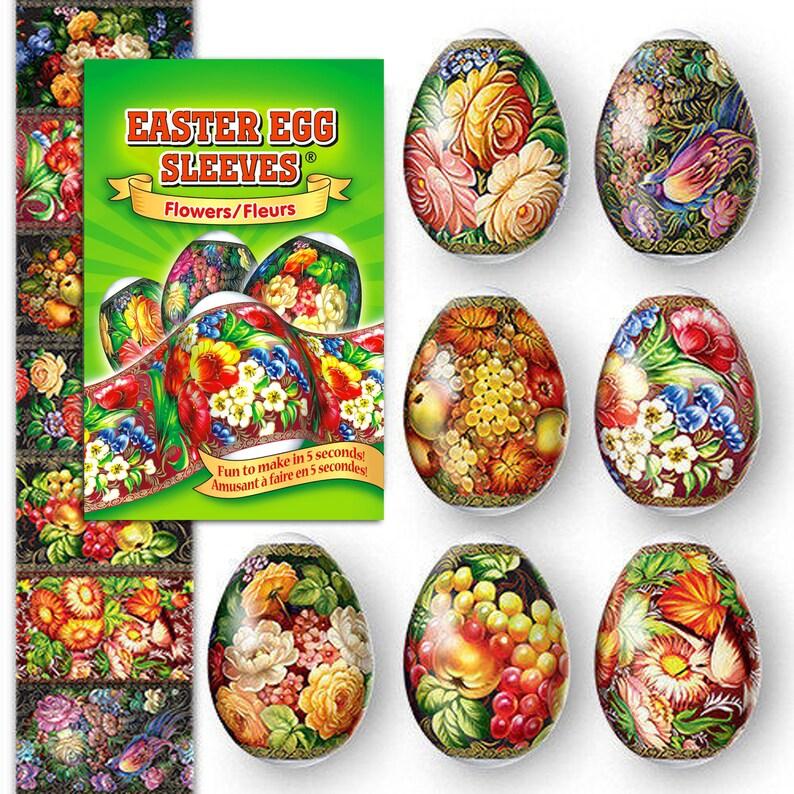Flowers  Green 14 Easter Egg Sleeves Pysanka  Shrink Wraps image 0