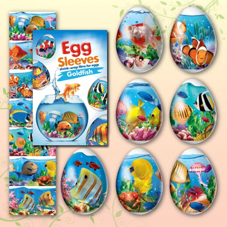 Fish 28 Egg Sleeves Shrink Wraps Nowruz Persian Egg image 0