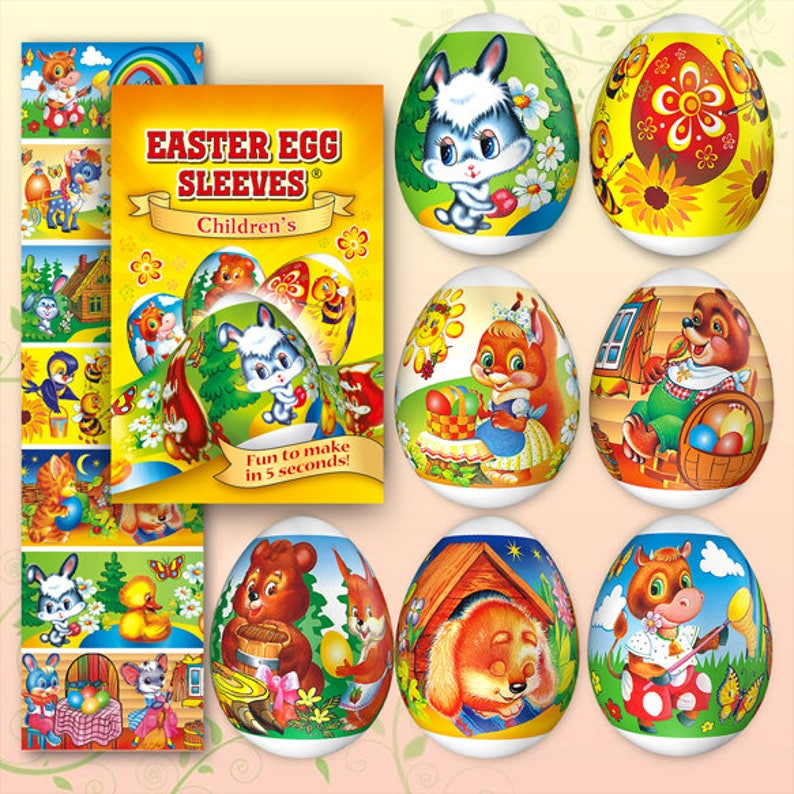 Rabbit 35 Easter Egg Sleeves Pysanka Shrink  Egg Wraps Easter image 0