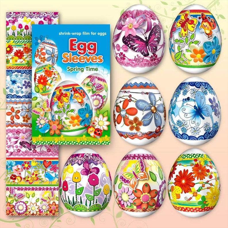 Spring Time 6 Easter Egg Sleeves Pysanka Shrink Wraps Egg image 0