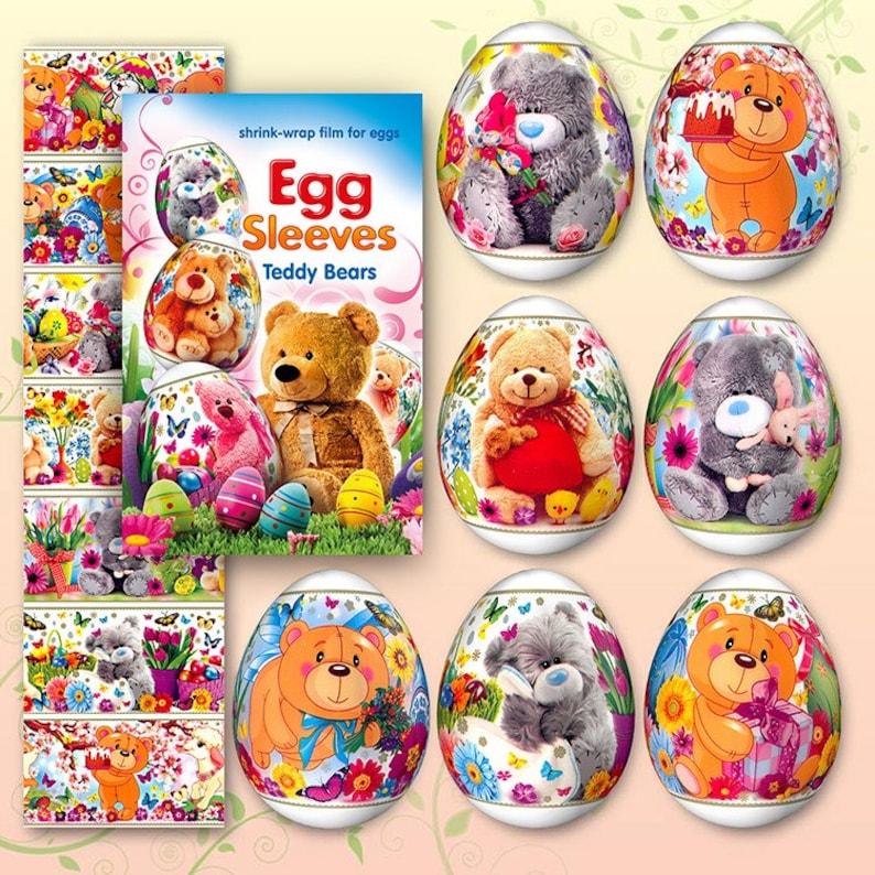 Teddy Bears 3 Easter Egg Sleeves Pysanka Shrink Egg Wraps image 0