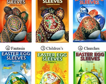 6 packages 42 Easter egg Sleeves Pysanka Shrink Wraps Pysanka Decoration  Egg Sleeves Sticker Pasha THERMO Easter SLEEVES