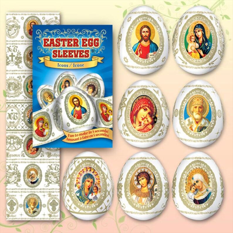 Icons Blue 27 Easter egg sleves Pysanka   Shrink  Egg wraps image 0