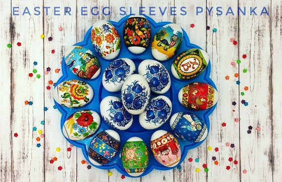 Embroidery Green #12-1 Easter Egg Sleeves Pysanka Shrink Wraps Egg Decoration Egg Sleeves Sticker Pasha THERMO Easter SLEEVES