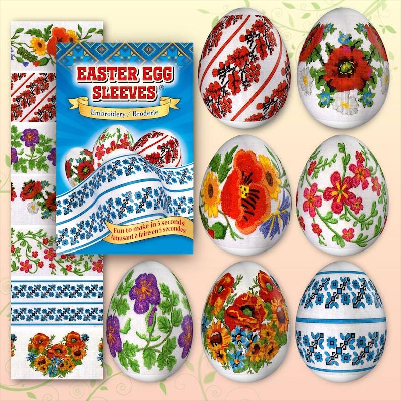 Embroidery Blue 10 Easter Egg Sleeves Pysanka Shrink Wraps image 0
