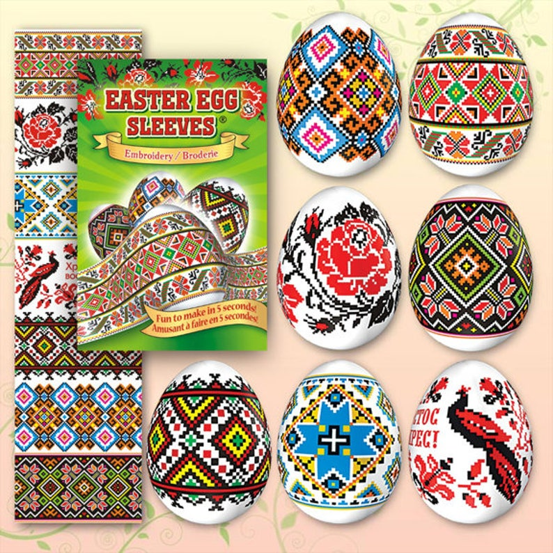 Embroidery Green 34 Easter Egg Sleeves Pysanka Shrink Wraps image 0