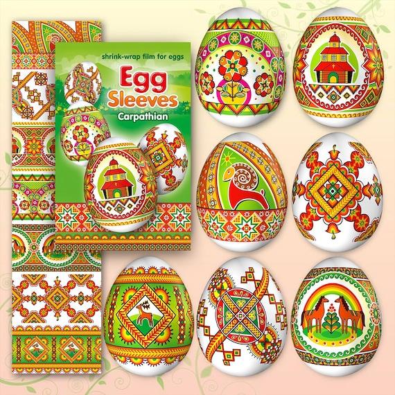 KIT FOR 7 EGGS HEAT SHRINK WRAP SLEEVE DECORATION EASTER PYSANKA NATIONAL