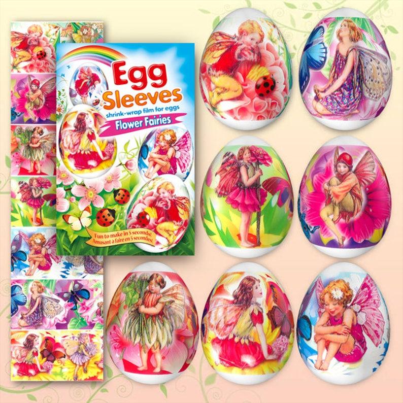 Flowers Fairies 13 Easter Egg Sleeves Pysanka Shrink Wraps image 0