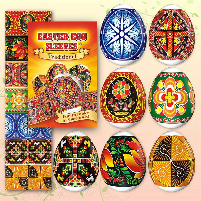 Traditional New 26 Easter Egg Sleeves Pysanka Shrink Wraps image 0