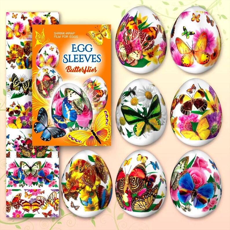 Butterflies 5 Easter Egg Sleeves Pysanka Shrink Wraps Egg image 0