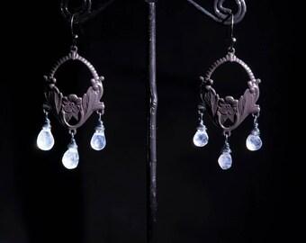 Rainbow moonstone earrings, charm earrings, brass hoop earrings, moonstone drop earrings, boho,moonstone chandelier earrings by Lolafae