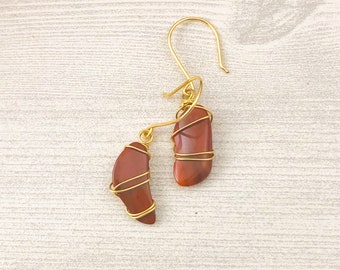 Red Jasper Stone Earrings >> Natural Jasper Gemstone Jewelry >> Wire Wrapped Crystal Earrings >> Nevada Stone Nature Jewelry >> Gift for Her