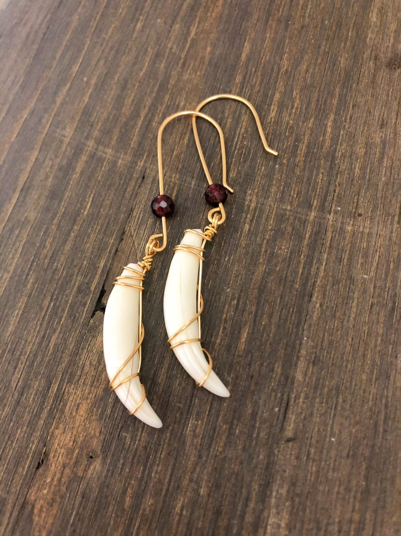 Bobcat Tooth Earrings with Red Garnet Stone  One of a Kind Macabre Taxidermy Jewelry  Oddities /& Curiosities Earrings  Wiccan Jewelry
