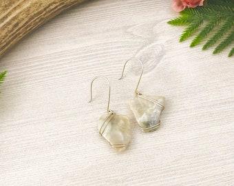 White Chalcedony Earrings >> Quartz Crystal Natural Stone Jewelry >> Gemstone Statement Earrings >> Bohemian Nevada Nature Jewelry >> Boho