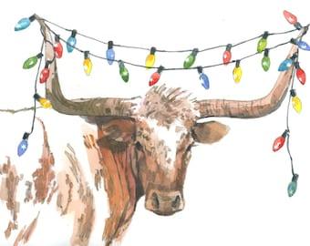 texas longhorn christmas lights 2 holiday greeting card