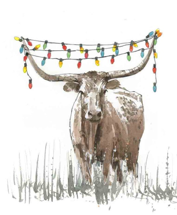 Texas Longhorn Christmas Lights Holiday Card - Texas Longhorn Christmas Lights Holiday Card Etsy