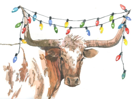 image 0 - Texas Longhorn Christmas Lights 2 Holiday Greeting Card Etsy