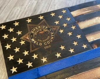 Weld County Sheriff Blue Line Flag