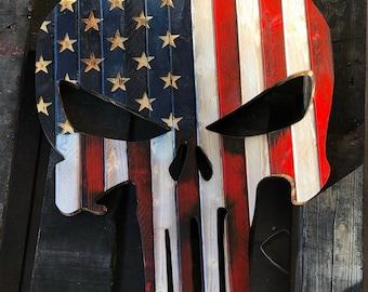 Large Punisher, Punisher Flag, Red, white and blue. Punisher