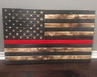 Redline American Flag, firefighters flag, rustic american wooden flag,