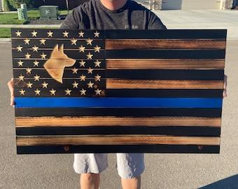 Thin Blue Line American Flag, K9 Thin blue line, Blue Line, Leo, Police Dog, Wooden K9 Flag