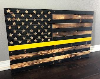 Rustic American Flag, Dispatcher Flag, Yellow Line Flag, Thin Yellow Line, 911 dispatcher