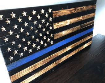 Thin Blue Line American Flag, blueline, thin blue line, leo, police officer wooden flag
