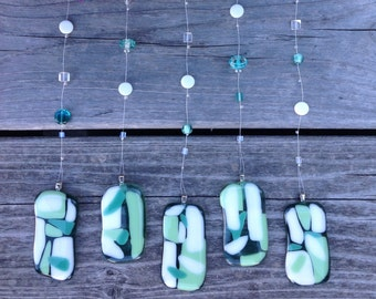 Fused Glass Sun Catcher, Wind Chime, Glass Mobile, Window Decor- Aquamarine