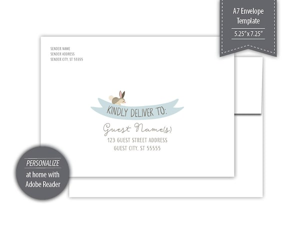 woodland theme a7 envelope template printable blue etsy