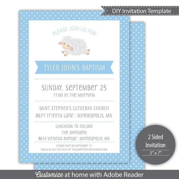 little lamb baptism invitation template printable blue etsy